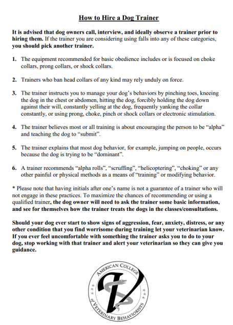 From the American Association of Veterinary Behaviorists.